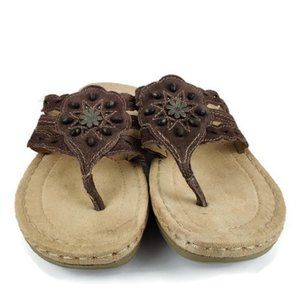 Earth Spirit Brown Boho Thong Sandal. Size: 9/41.5
